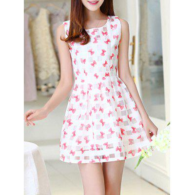 Simple Style Women's Organza Print Jewel Neck Sleeveless Dress