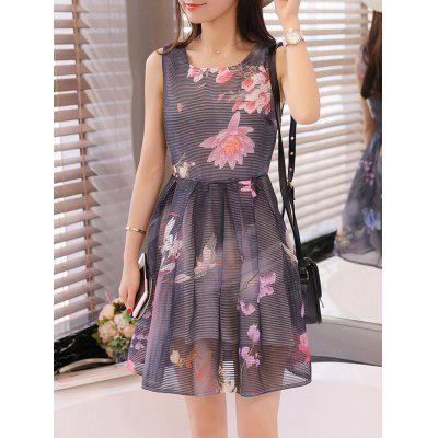Organza Floral Print Jewel Neck Sleeveless Black Dress