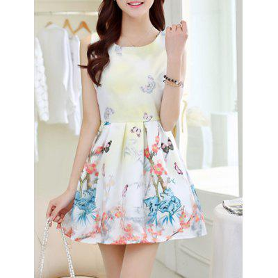 Butterfly Print Jewel Neck Sleeveless Dress