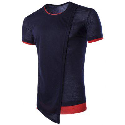 Buy Asymmetric Top Fly Color Spliced Round Neck Short Sleeves Slimming T-Shirt For Men, CADETBLUE, XL, Apparel, Men's Clothing, Men's T-shirts, Men's Short Sleeve Tees for $10.34 in GearBest store