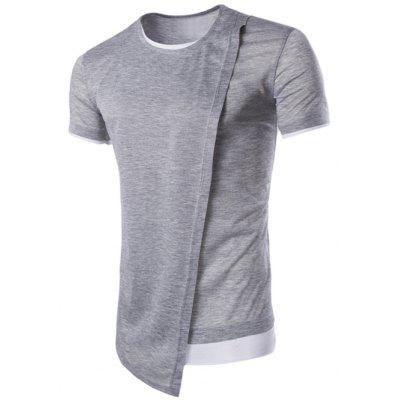 Buy Asymmetric Top Fly Color Spliced Round Neck Short Sleeves Slimming T-Shirt For Men, LIGHT GRAY, XL, Apparel, Men's Clothing, Men's T-shirts, Men's Short Sleeve Tees for $10.34 in GearBest store
