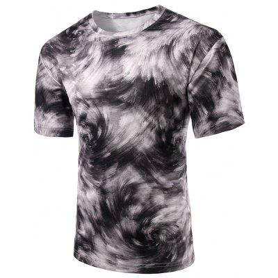 Round Neck Abstract Print Short Sleeve Stylish T-Shirt For Men