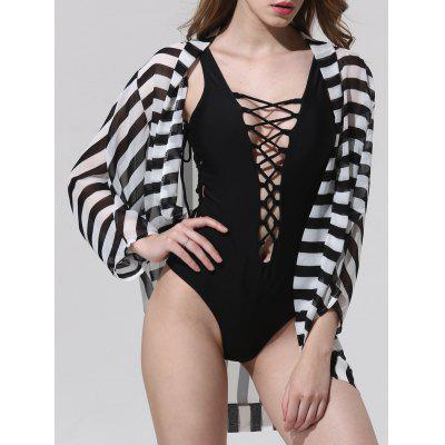 Stylish Collarless Striped 3/4 Sleeve Cover-Up For Women