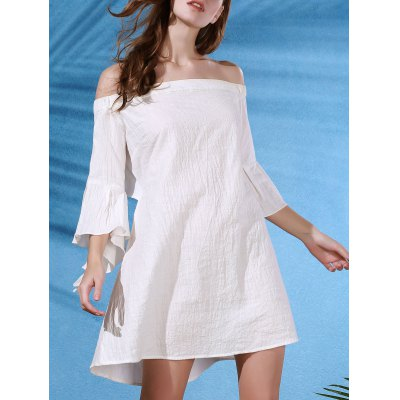 Trendy Off The Shoulder Butterfly Sleeve Back Cut Out Dress For Women