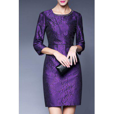 Rhinestone Embellished Peplum Jacquard Dress
