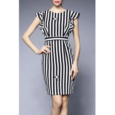 Striped Flounced Sheath Dress