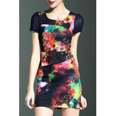 Stylish Round Neck Short Sleeve Fitted Beading Printed Women's Dress