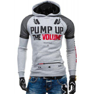 Volie Spliced Letters Print Front Pocket Hooded Long Sleeves Hoodie For Men
