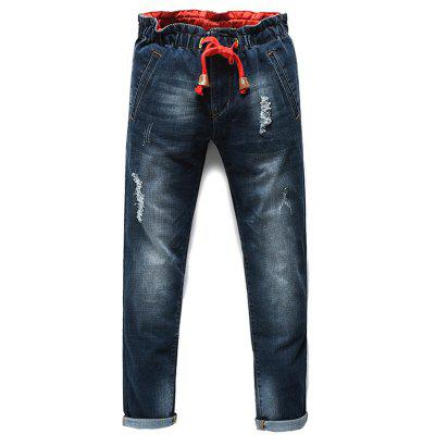 Fashion Lace Up Straight Legs Men's Cropped Jeans