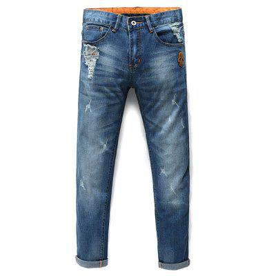 Fashion Zip Fly Skull Straight Legs Men's Cropped Jeans