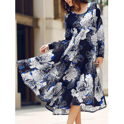 Elegant Round Collar Long Sleeve Back Cut Out Maxi Dress For Women
