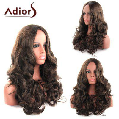 Shaggy Curly Long Synthetic Charming Dark Brown Centre Parting Capless Adiors Wig For Women