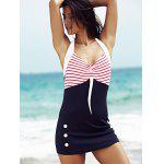 cheap Women's Stylish Halter Polka Dot Hit Color One Piece  Swimwear
