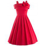 Vintage Spaghetti Strap Bowknot Embellished Women's Dress - RED
