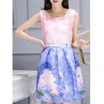 Simple Style Women's Belted Sleeveless Organza Swan Print Dress - PINK