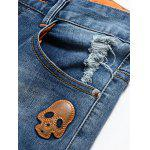 Fashion Zip Fly Skull Straight Legs Men's Cropped Jeans deal