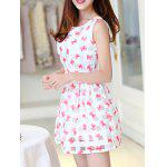 Simple Style Women's Organza Print Jewel Neck Sleeveless Dress deal