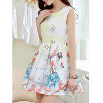 Simple Style Women's Butterfly Print Jewel Neck Sleeveless Dress - LIGHT YELLOW