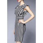 Striped Flounced Sheath Dress for sale