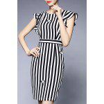 Striped Flounced Sheath Dress deal