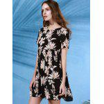 Trendy Round Collar Short Sleeve Flower Print Dress For Women for sale