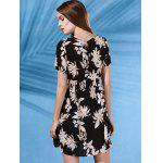 best Trendy Round Collar Short Sleeve Flower Print Dress For Women