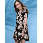 Trendy Round Collar Short Sleeve Flower Print Dress For Women photo