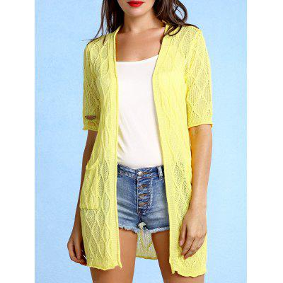Collarless Pattern Knit Short Sleeve Cardigan For Women