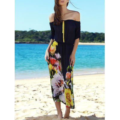 Stylish Slash Neck Flower Pattern Half Sleeve Maxi Dress For Women