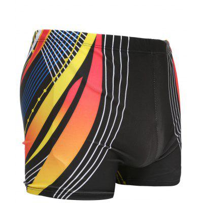Color Block Mesh Printed Men's Swimming Trunks