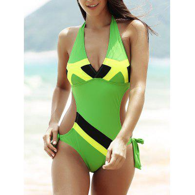 Flag Print Color Block Halter One-Piece Patriotic Swimwear