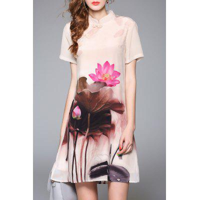 Mandarin Neck Wash Painting Dress