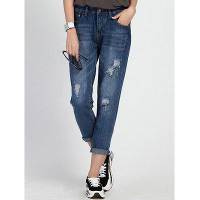 Hole Ripped Capri Jeans