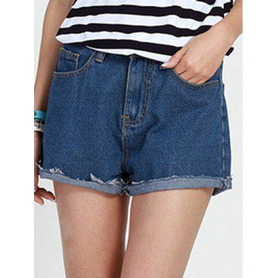 Mid Waist Button Design Solid Color Shorts