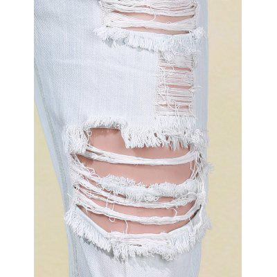 Bleach Wash Frayed Distressed Boyfriend Jeans For Women от GearBest.com INT