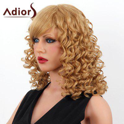 Buy LIGHT BLONDE 18/27# Stylish Medium Adiors Capless Shaggy Curly Human Hair Wig For Women for $102.06 in GearBest store