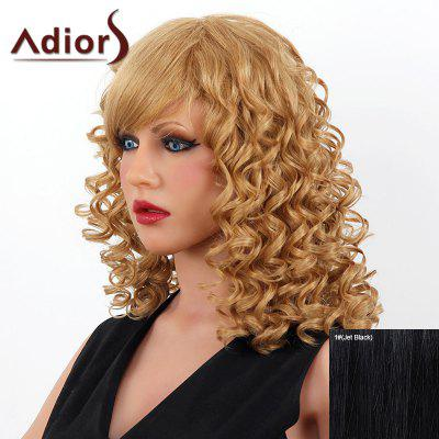 Buy JET BLACK Stylish Medium Adiors Capless Shaggy Curly Human Hair Wig For Women for $102.06 in GearBest store