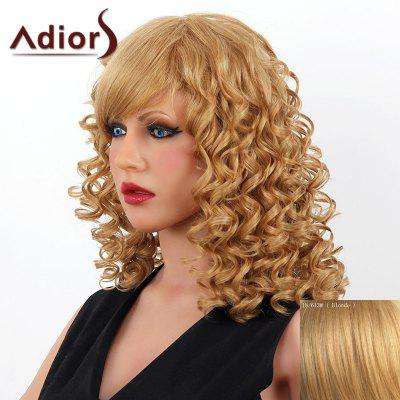 Buy BLONDE Stylish Medium Adiors Capless Shaggy Curly Human Hair Wig For Women for $104.68 in GearBest store