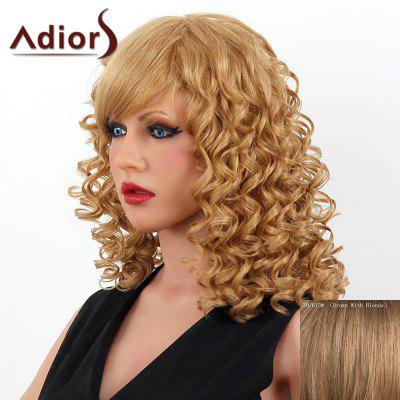 Buy BROWN WITH BLONDE Stylish Medium Adiors Capless Shaggy Curly Human Hair Wig For Women for $102.06 in GearBest store