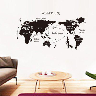 Buy BLACK Fashion Travel World Map Pattern Wall Sticker For Livingroom Bedroom Decoration for $5.05 in GearBest store