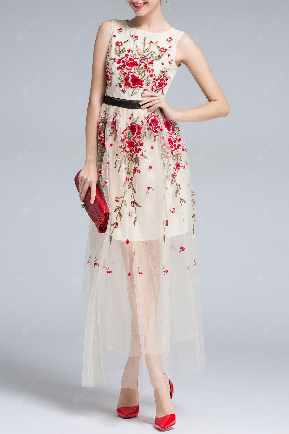 Sleeveless Floral Embroidery Voile Maxi Dress