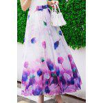 cheap Trendy Elastic Waist Floral Pattern Women's Maxi Skirt