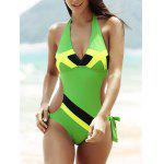 Buy GREEN Flag Print Color Block Halter One-Piece Patriotic Swimwear for $17.19 in GearBest store