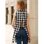 Plaid Side Slit Long Sleeveless Shirt - CHECKED