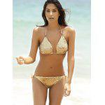 cheap Fashionable Halter Push-Up Sequins Embellished Women's Bikini Set