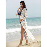 Buy Lace Cover-Up Long Sleeve Maxi Beach Kimono Robe 2XL WHITE