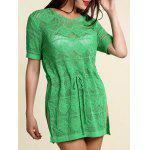 Stilvolle Scoop Neck Short Sleeve Perforierte Kordelzug Pullover für Frauen - GREEN