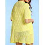 Stylish Collarless Pattern Knit Short Sleeve Cardigan For Women - YELLOW