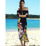 Stylish Slash Neck Flower Pattern Half Sleeve Maxi Dress For Women deal