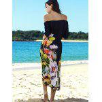 Stylish Slash Neck Flower Pattern Half Sleeve Maxi Dress For Women for sale